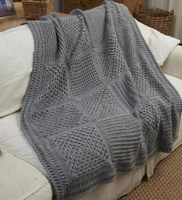 frazadas tejidas a crochet gris