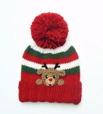 gorros navideños en crochet con borla