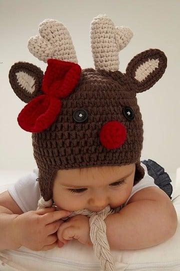 gorros navideños en crochet de reno