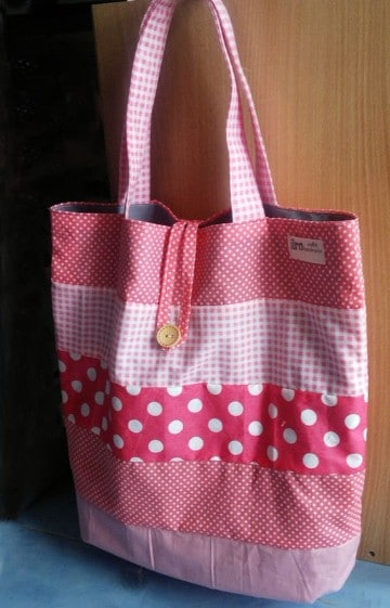 modelos de bolsos de tela rosados