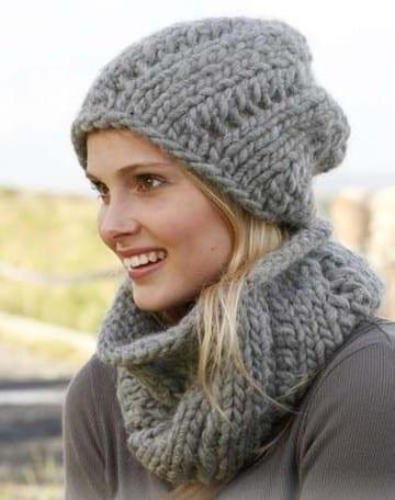 modelos de gorros de lana con bufanda