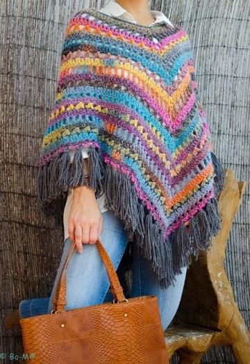 modelos de ponchos tejidos de colores