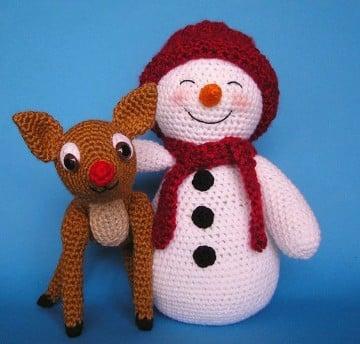 muñeco de nieve con estambre para navidad