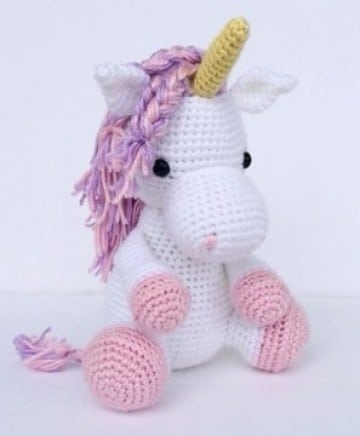 peluches tejidos a crochet de unicornio