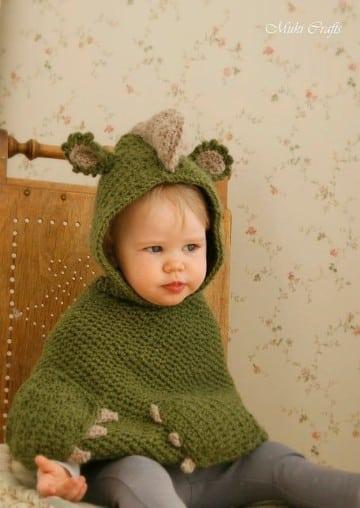 ponchos tejidos para niños de dinosaurio