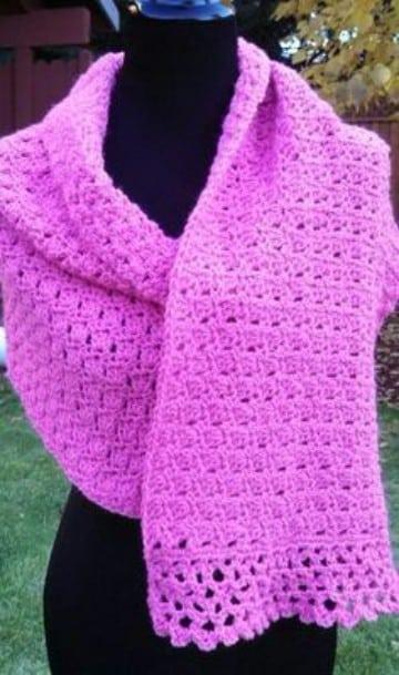 rebozos tejidos a gancho en rosado