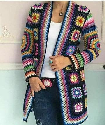 sacos en crochet para dama de colores