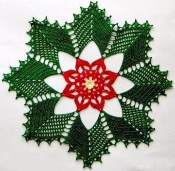 tapetes navideños a crochet verde y rojo
