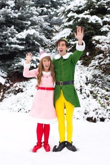 trajes de duendes navideños en pareja