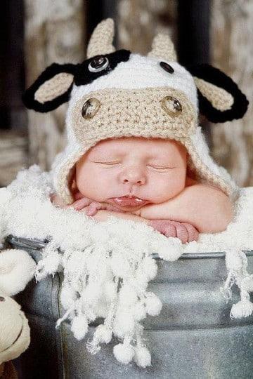 boinas tejidas para bebe vaca