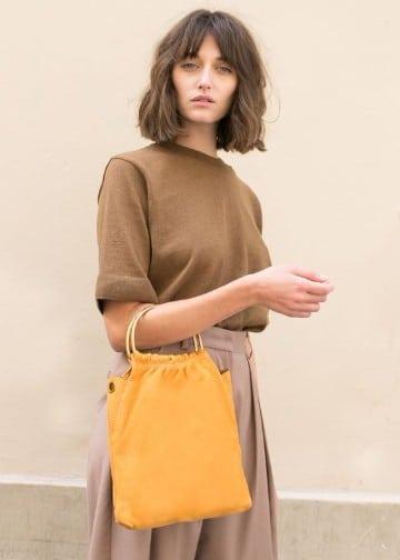 bolsos color mostaza para mujeres