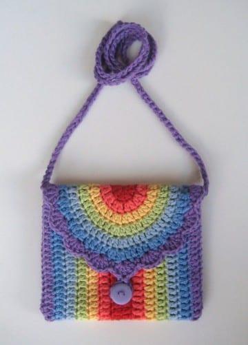bolsos de ganchillo para niña de arcoiris