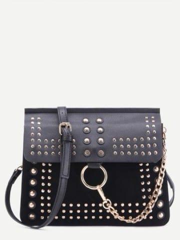 bolsos negros pequeños con cadena