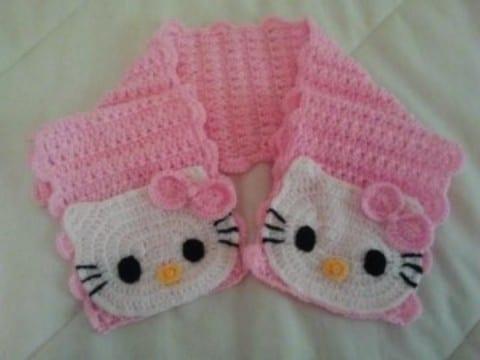 bufandas tejidas para niñas de hello kitty