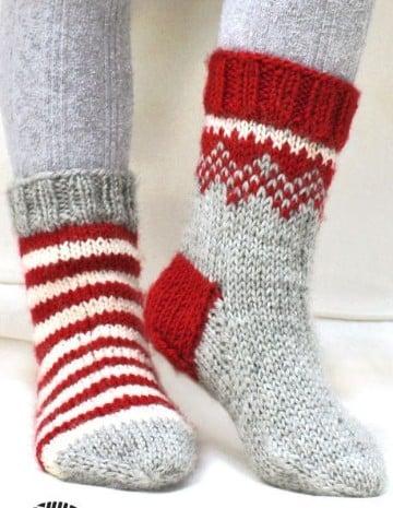 calcetines tejidos a dos agujas navidad