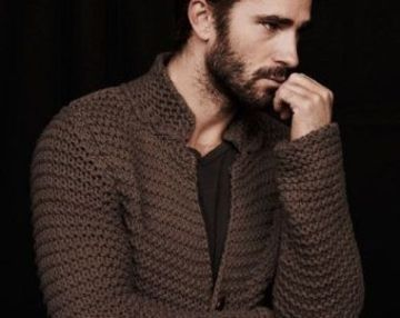 cardigan tejido a crochet para hombre