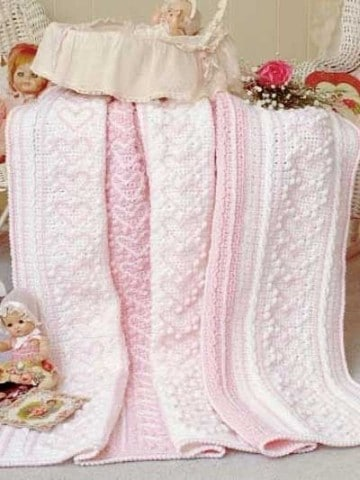 cobijas tejidas para ni+¦a rosa