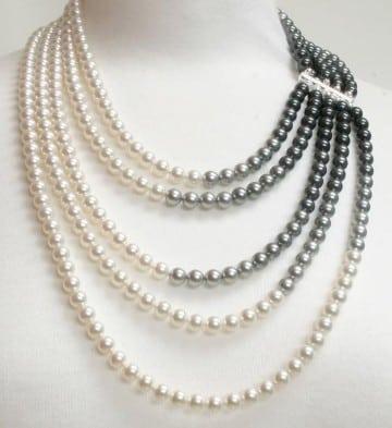 collares con piedras naturales de perlas