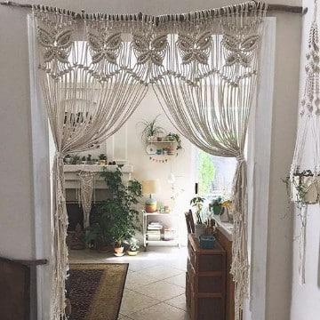 como hacer cortinas de macrame para pasillos