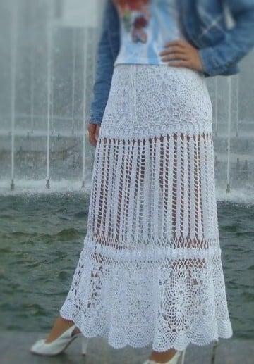 faldas largas a crochet blanca