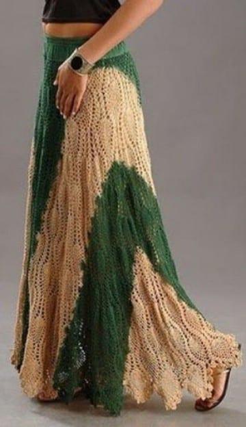 faldas largas a crochet de dos colores