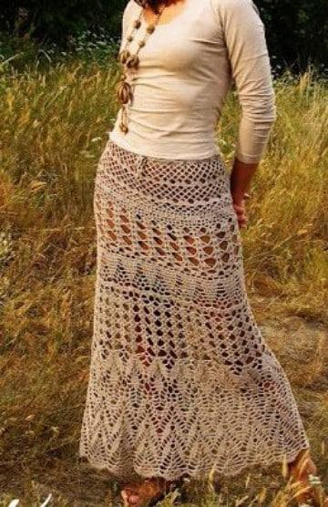 faldas largas a crochet paso a paso