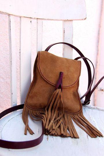 mochilas de cuero con flecos pequeña