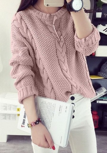 modelos de sueters tejidos rosa