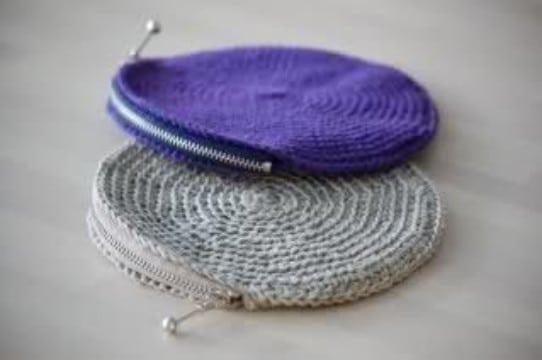 monederos de crochet redondos con cierre