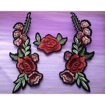 parches de flores bordadas para ropa