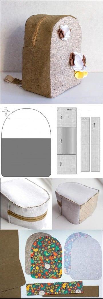 patrones para hacer una mochila marron