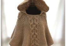 El poncho con capucha a crochet de moda para niñas y damas