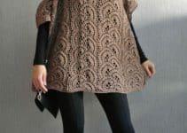 La moda y confort del poncho con manga a crochet y sin ella