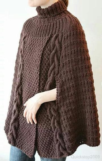 poncho con manga a crochet marron