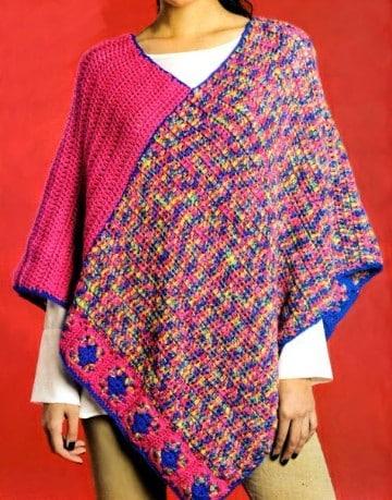 poncho con manga a crochet mujer