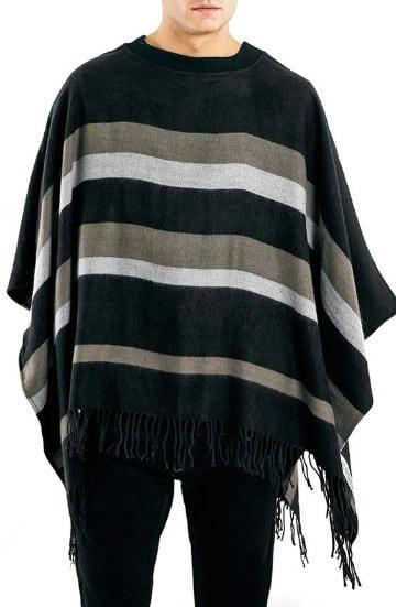 ponchos tejidos para hombres rayas horizontales