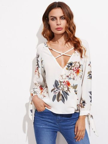 blusas con escote cruzado elegante