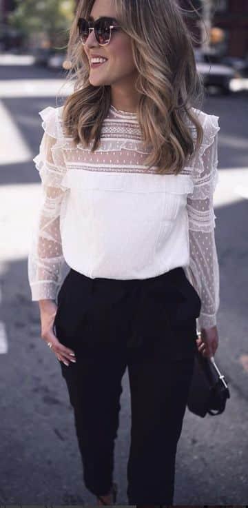 blusas de encaje manga larga elegante