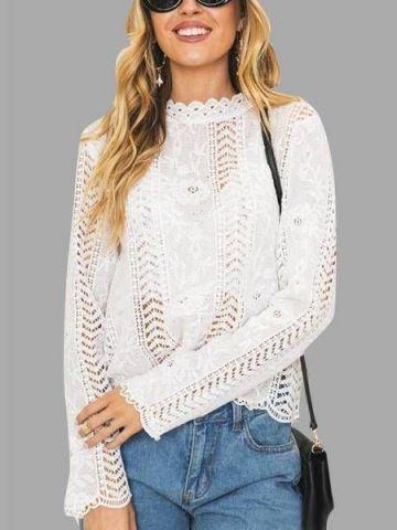 blusas de encaje manga larga moderna