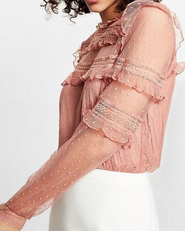 blusas de encaje manga larga para señora