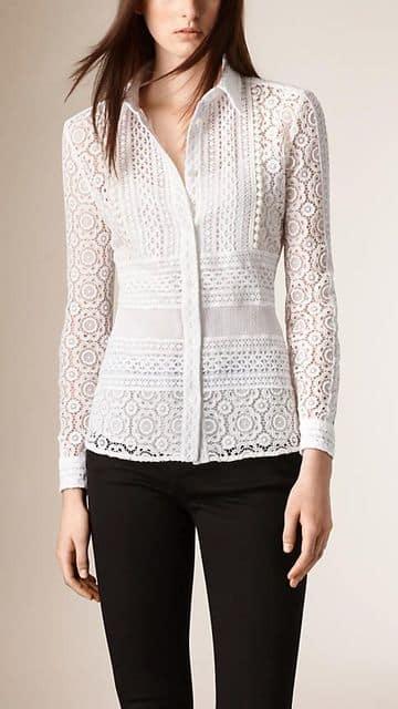 blusas en blonda elegantes blancas