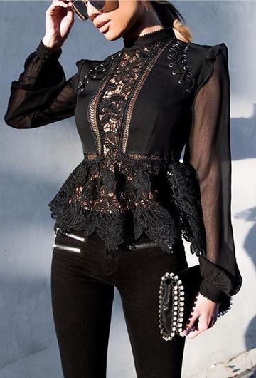 blusas negras elegantes