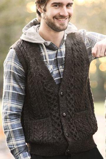 chalecos tejidos para hombre a mano