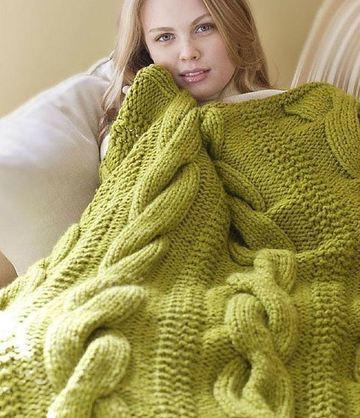mantas de lana a dos agujas grande