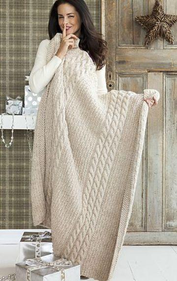 mantas de lana a dos agujas para el hogar