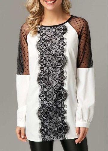 modelos de blusas con encaje manga larga