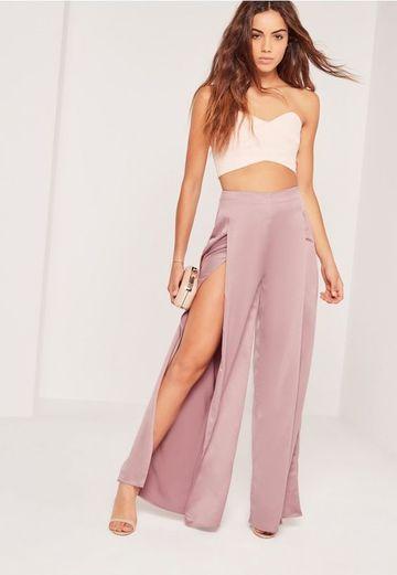 pantalones anchos de fiesta con aberturas