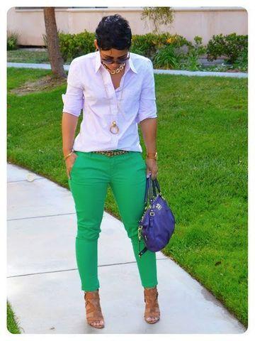 pantalones de colores para mujer casuales