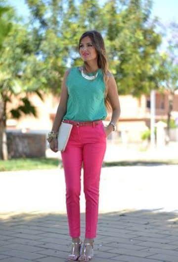 pantalones de colores para mujer para combinar