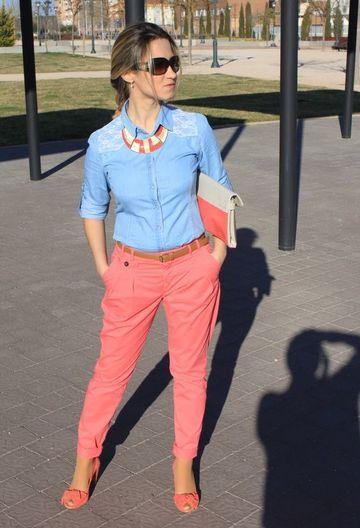 pantalones de colores para mujercon bolsillos